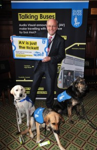 Alex on board with Guide Dogs' Talking Buses campaign