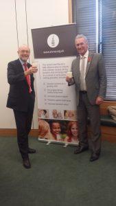 Alex joins Dr Hilary Jones to celebrate school milk in Parliament