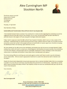 My letter to the Secretary of State for Health