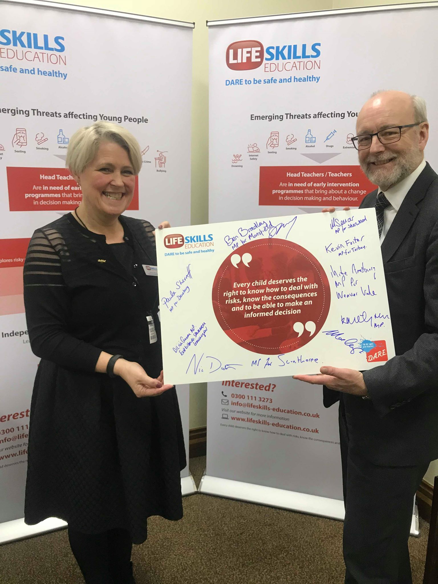 Alex signs Life Skills Education pledge