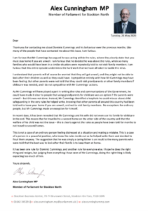 Alex's letter to constituents about Dominic Cummings